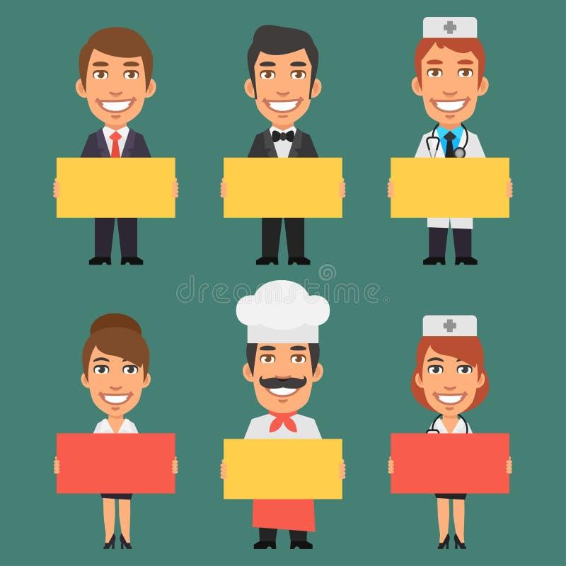 Parte diferente 4 das profissões dos caráteres ilustração stock
