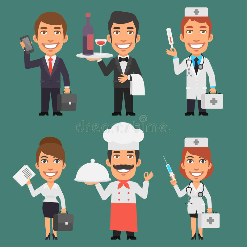 Parte diferente 5 das profissões dos caráteres ilustração stock