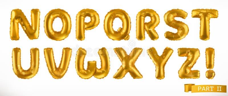 Parte 2 do alfabeto Balões infláveis dourados do brinquedo Letras N - Z fonte 3D realística Grupo do ícone do vetor ilustração stock