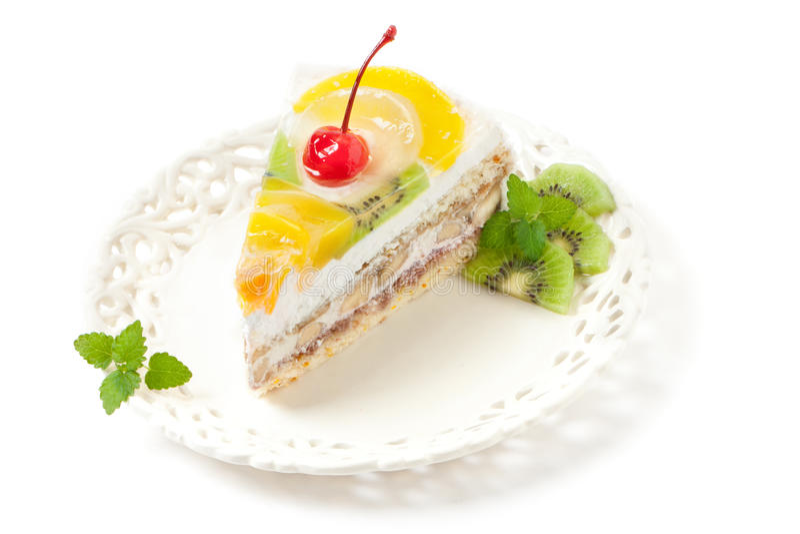 Parte do bolo da fruta fotos de stock royalty free