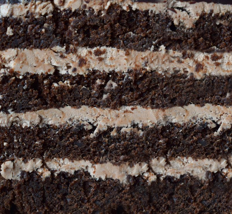Parte do close-up de bolo de chocolate: biscoito da chocolate-porca, creme do caramelo Cozimento caseiro fotos de stock royalty free