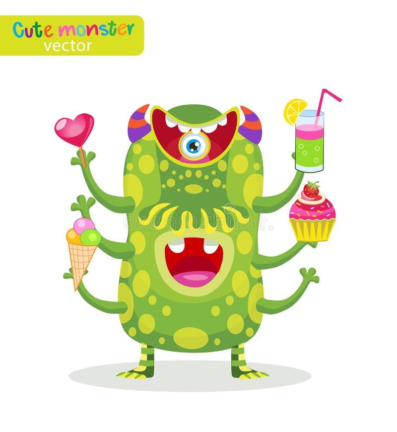 Parte do guloso Ilustração bonito do vetor dos monstro do alimento Personagem de banda desenhada engraçado Homem do prazer ilustração stock