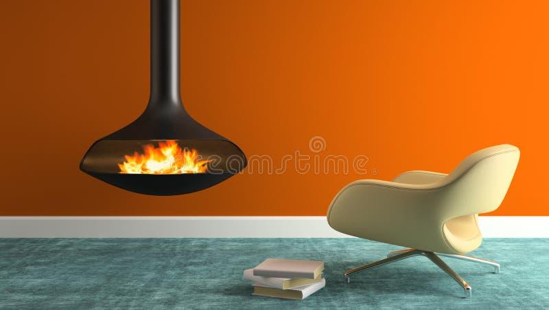 Parte do interior com chaminé e rendição moderna da poltrona 3D foto de stock