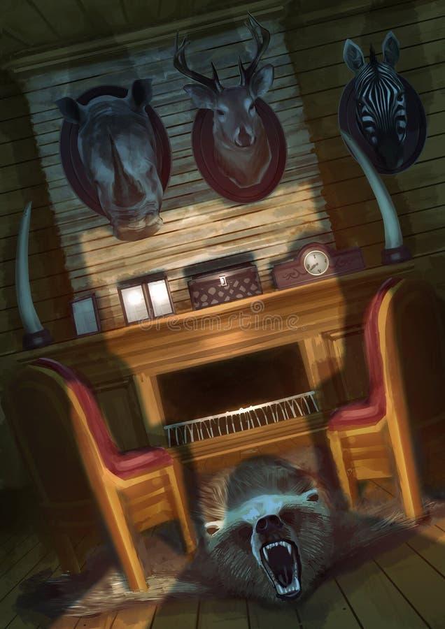 Parte do interior interno da casa do caçador com chaminé e montado ilustração stock