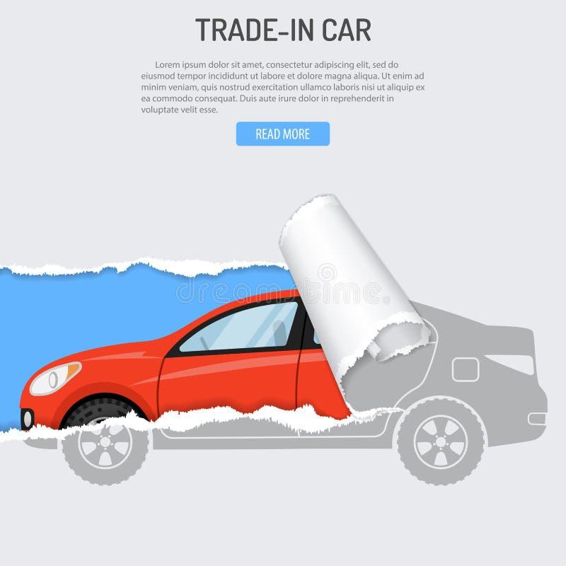 Parte do pagamento do aluguel que compra a bandeira do carro ilustração stock