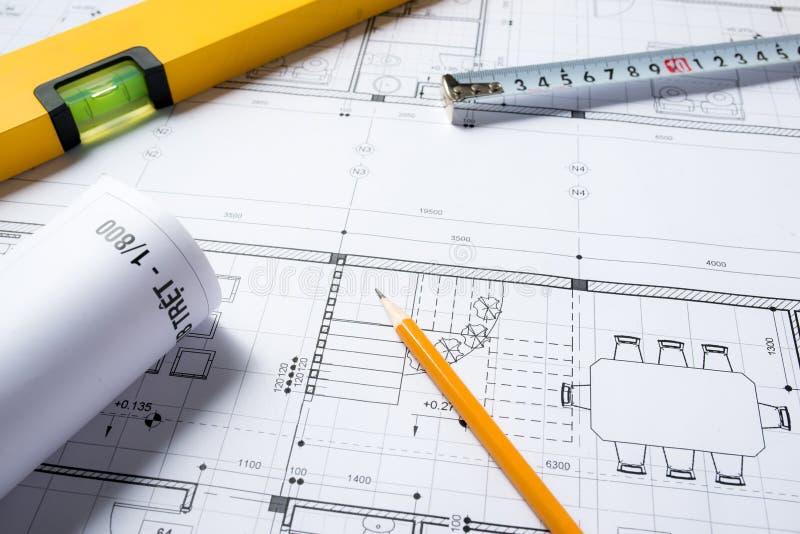Parte do projeto arquitectónico Ferramentas para projetar uma casa nova imagens de stock