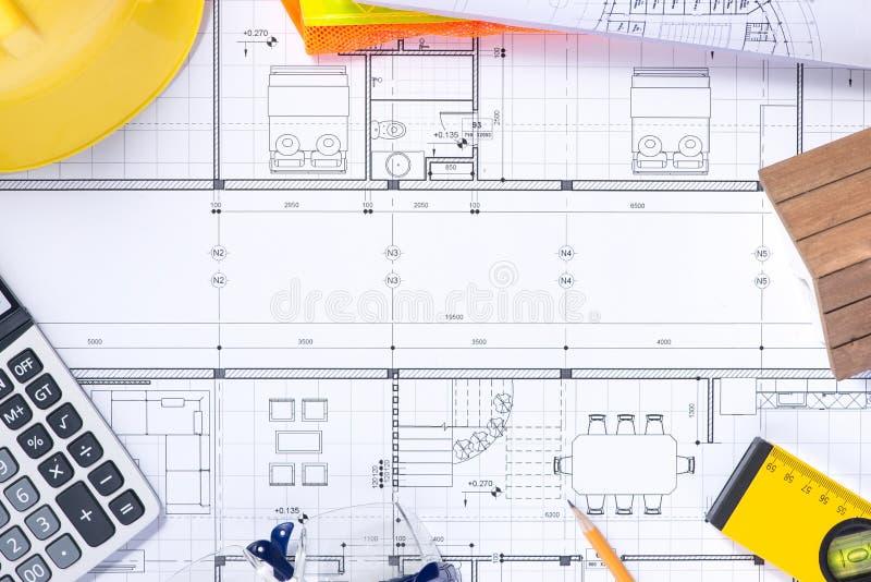 Parte do projeto arquitectónico Ferramentas para projetar uma casa nova fotos de stock royalty free