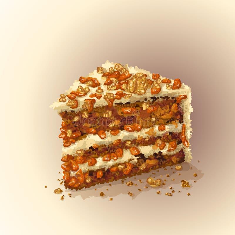 Parte do vetor de bolo de cenoura com fatias de nozes, abricós secados, ameixas secas, camadas macias friáveis do bolo, que são ilustração stock