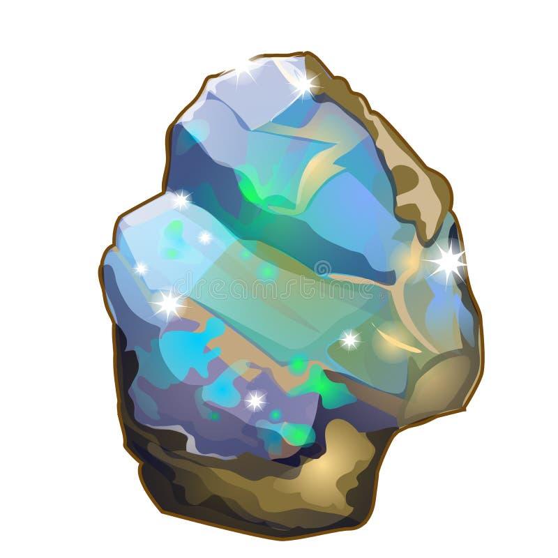 Parte do vetor de cristal da opala ou da pedra lunar ilustração royalty free