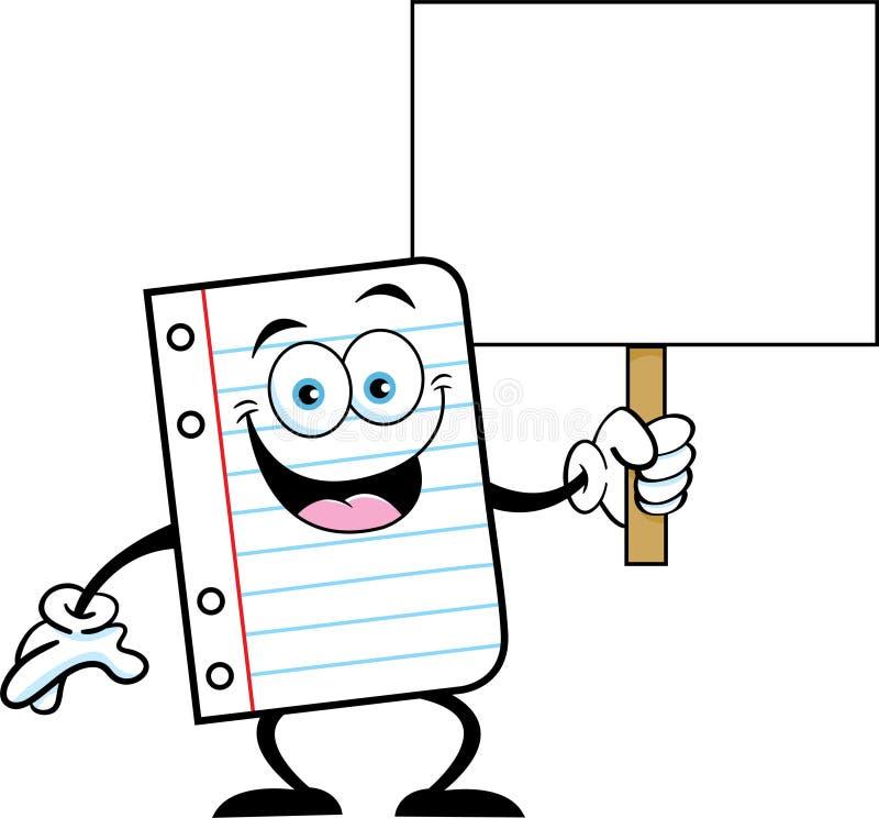 Parte dos desenhos animados da terra arrendada de papel do caderno um sinal ilustração do vetor