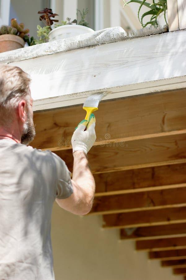 Parte externa de pintura da carpintaria imagem de stock