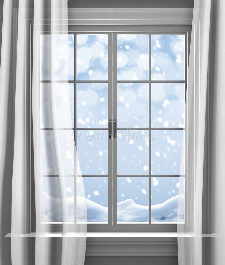 Parte externa delicadamente de queda da neve do inverno a janela paned de uma casa imagens de stock