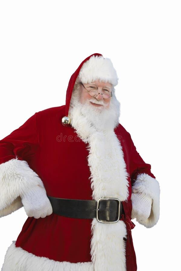 Parte externa ereta de sorriso de Santa Claus com palmeiras imagem de stock