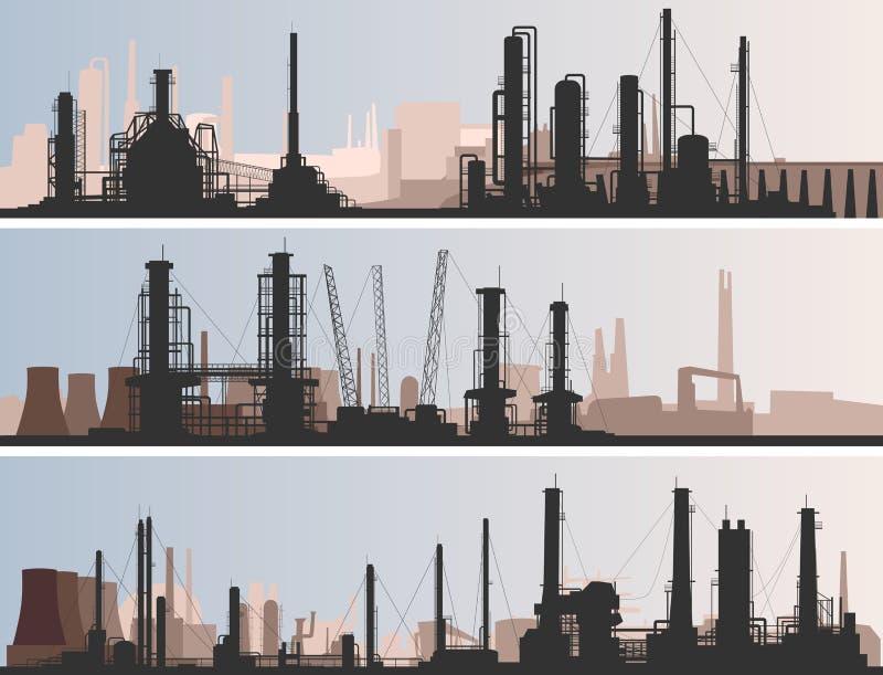 Parte industriale dell'insegna orizzontale astratta della città. illustrazione di stock