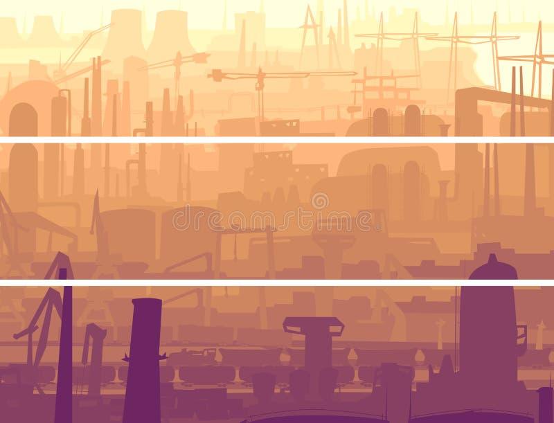 Parte industriale dell'insegna orizzontale astratta della città nel mornin illustrazione vettoriale