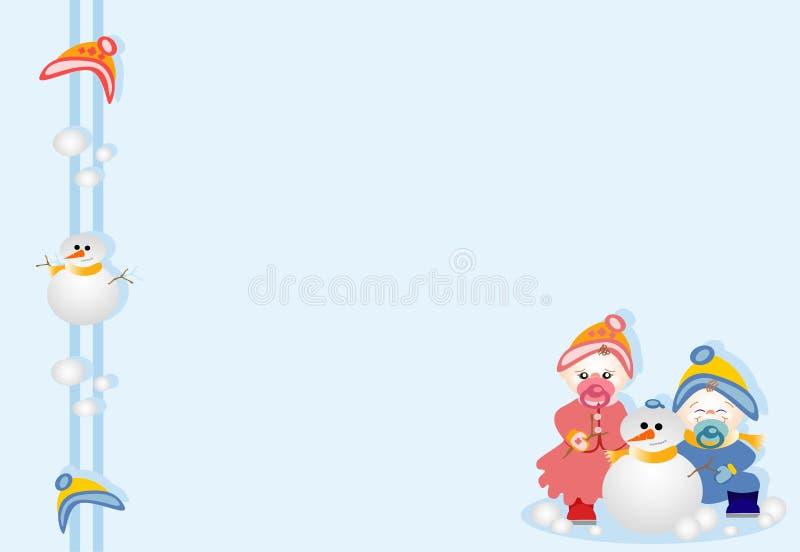 Parte inferior com os irmãos que jogam na neve ilustração stock