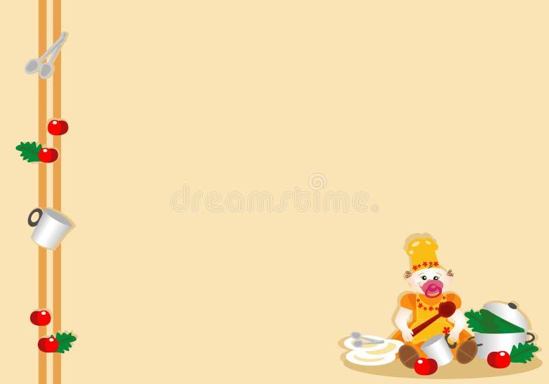 Parte inferior con el bebé disfrazado joven del cocinero foto de archivo libre de regalías