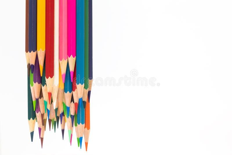 Parte inferior de madera del lápiz del color múltiple para arriba imagenes de archivo