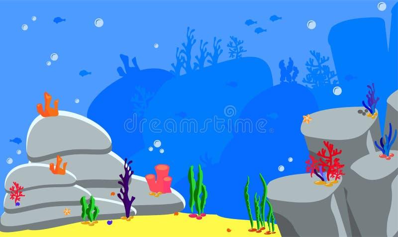 Parte inferior de mar del paisaje del panorama Fondo del océano del ejemplo del vector Activos del juego para las etiquetas engom libre illustration