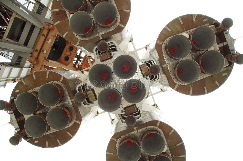 Parte inferior do foguete de espaço foto de stock