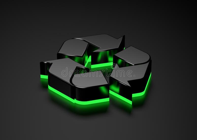 Parte inferior que brilla intensamente reciclable de la luz verde de la muestra ilustración del vector
