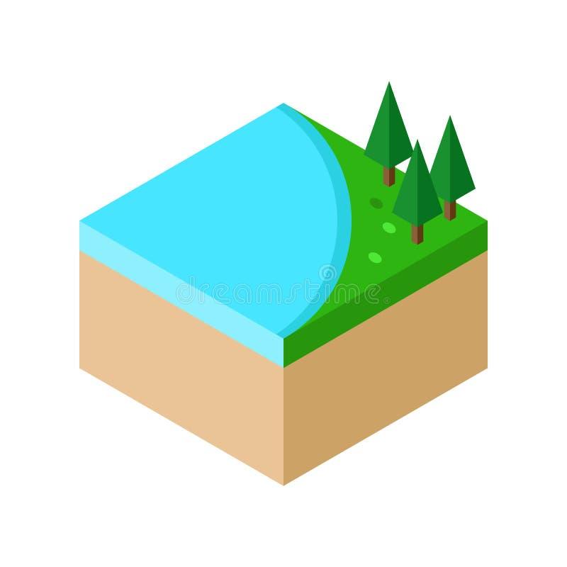 A parte isométrica de paisagem da floresta com lago e as árvores vector i ilustração do vetor