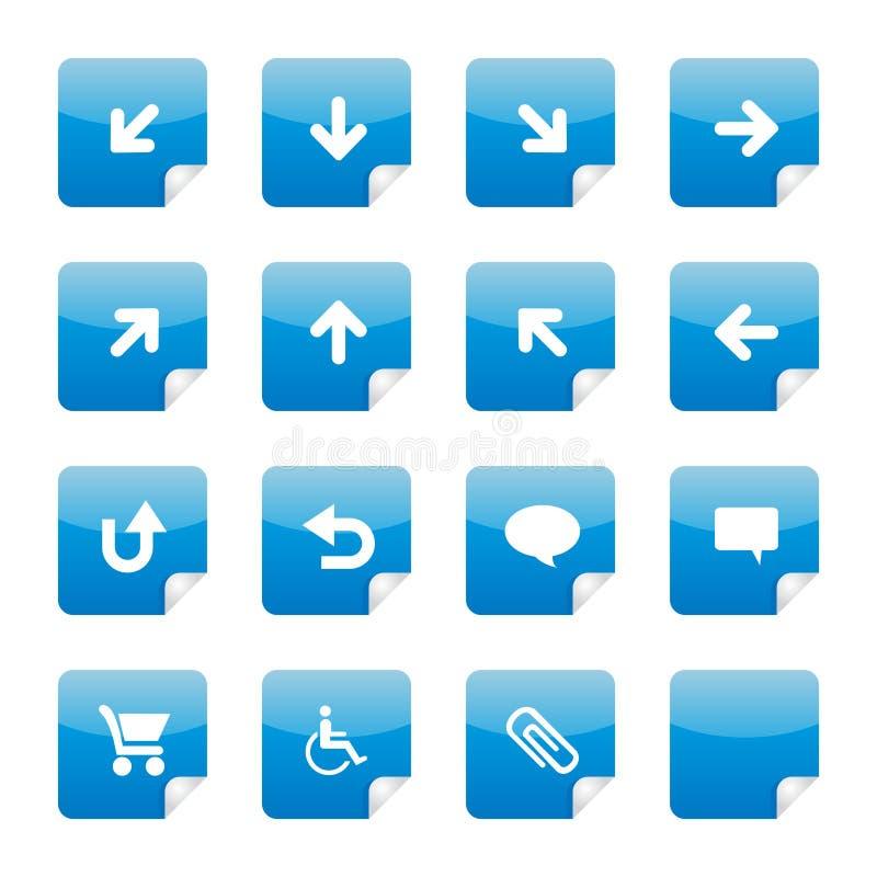 Parte lustrosa azul 3 das etiquetas ilustração do vetor