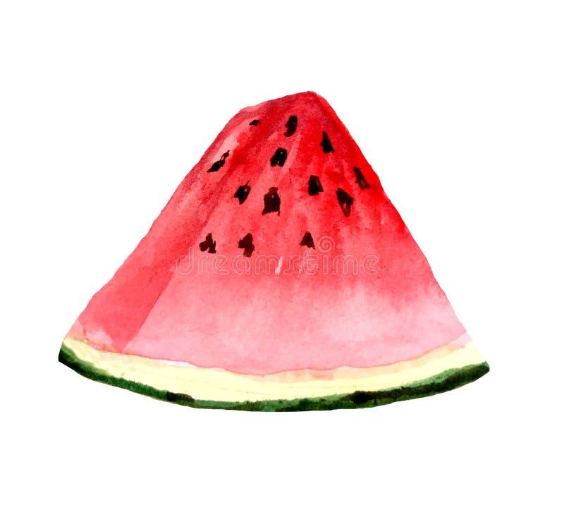 Parte mordida de melancia em um fundo branco ilustração royalty free