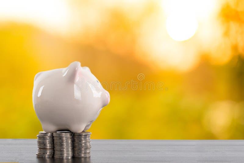 Parte movible de la hucha su moneda del dinero dentro imagenes de archivo