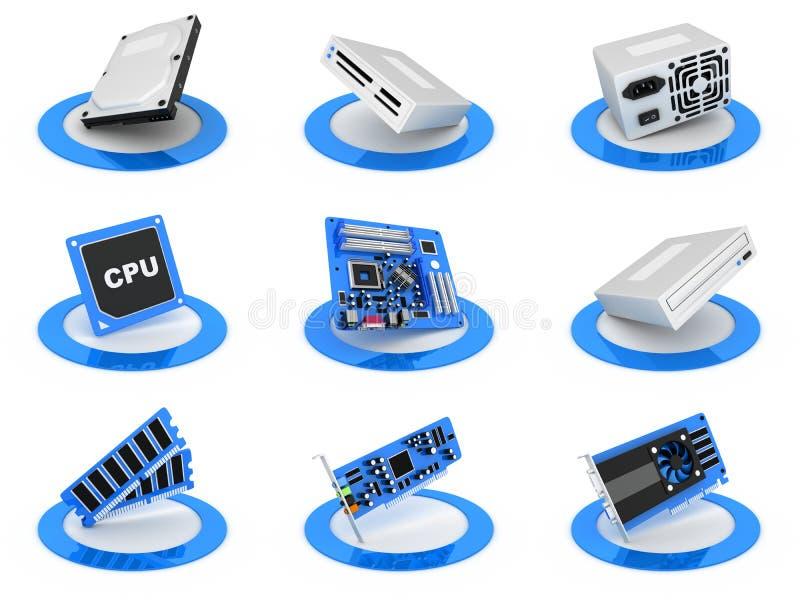 Parte o ícone do computador ilustração stock