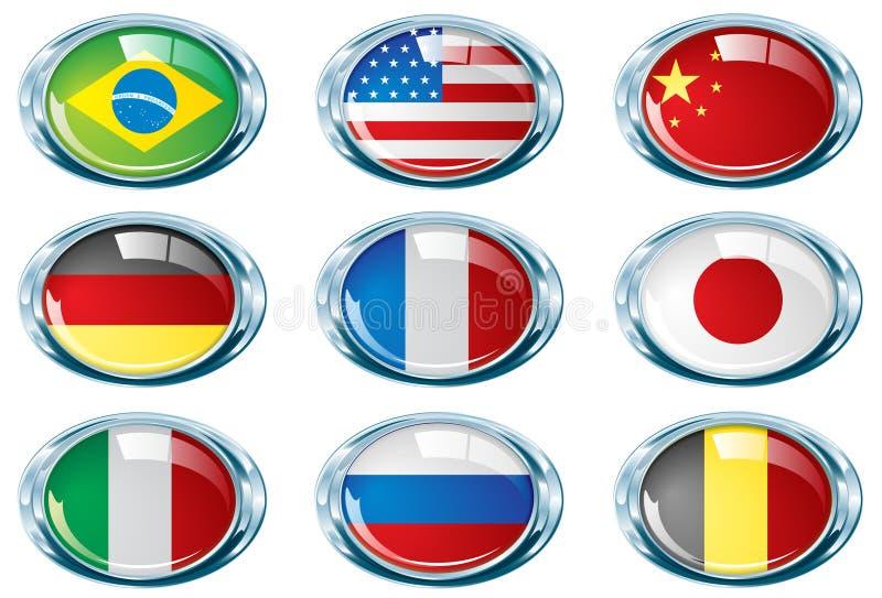 Parte oval uma da bandeira do cromo brilhante ilustração stock