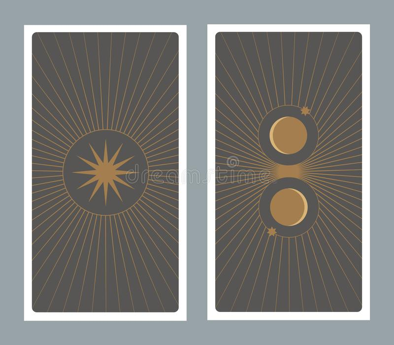 Parte posterior de la carta de tarot adornada con las estrellas, el sol y la luna ilustración del vector