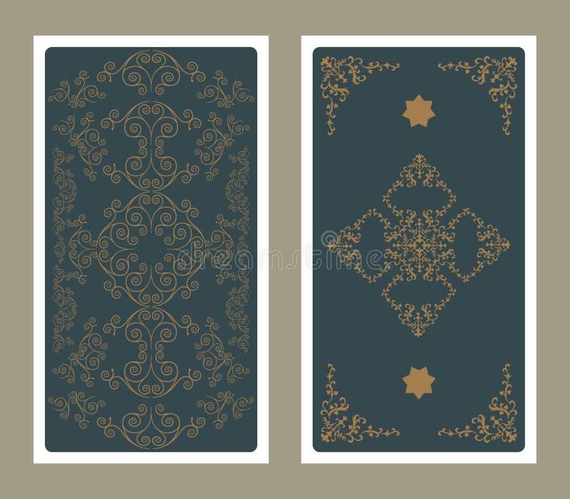 Parte posterior de la carta de tarot adornada con los gráficos y las estrellas ornamentales ilustración del vector