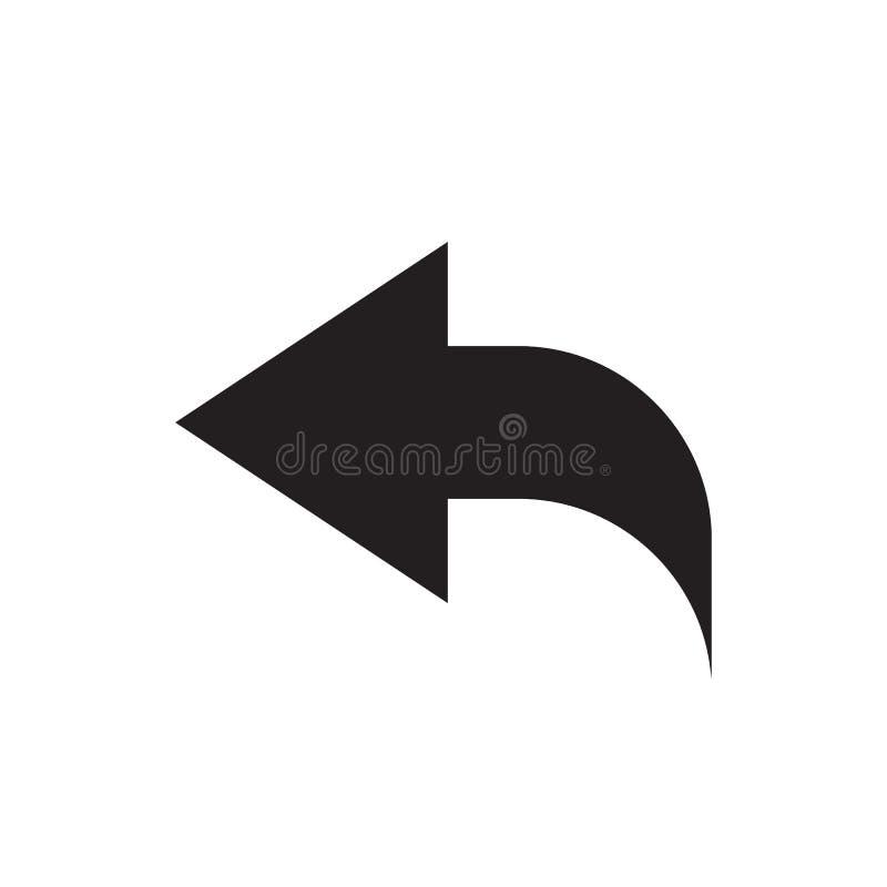 Parte posterior de la flecha - icono negro en el ejemplo blanco del vector del fondo para la página web, aplicación móvil, presen stock de ilustración