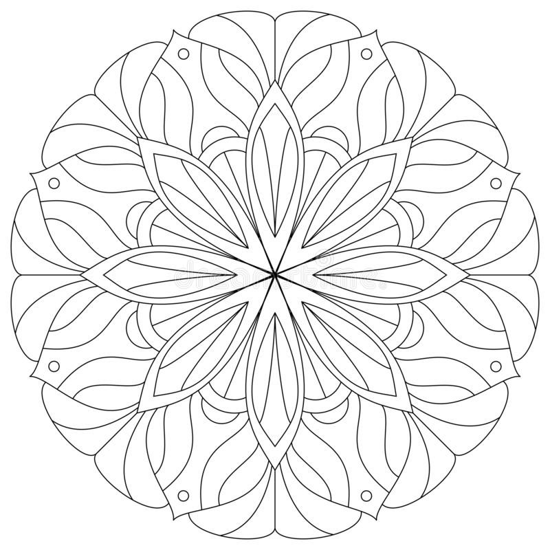 Parte posterior de Mandala Human de la flor Figura de una chica joven Ejemplo digital del vector stock de ilustración