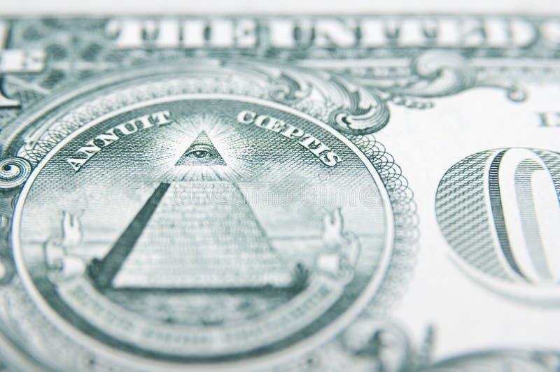 Parte posterior del billete de dólar fotografía de archivo
