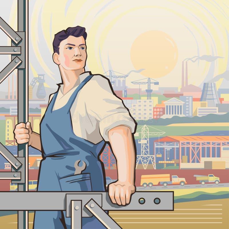 Parte posterior 1 del trabajador ilustración del vector