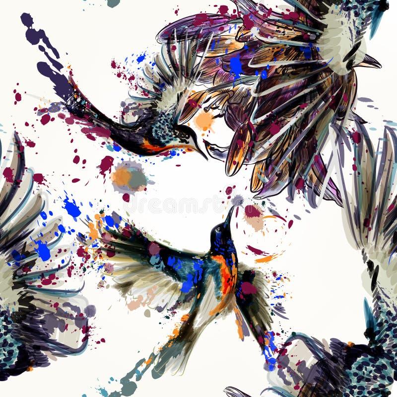 Parte posterior inconsútil del vector hermoso con las flores y los pájaros del lirio stock de ilustración