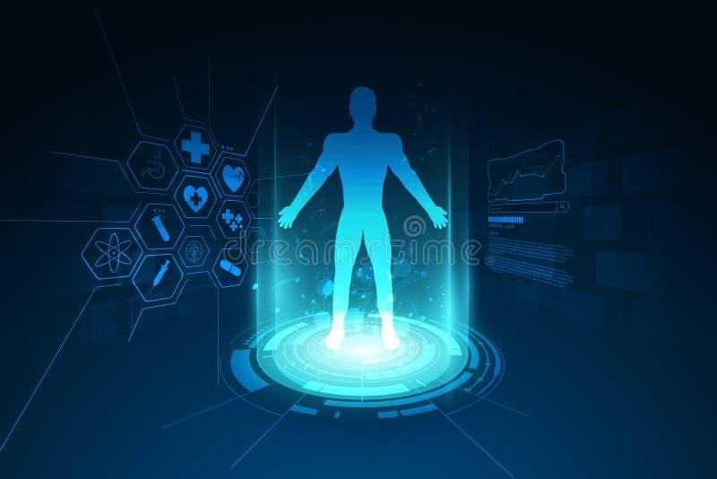 Parte posterior médica del concepto de la plantilla de los diagnósticos del cuerpo humano de la atención sanitaria ilustración del vector