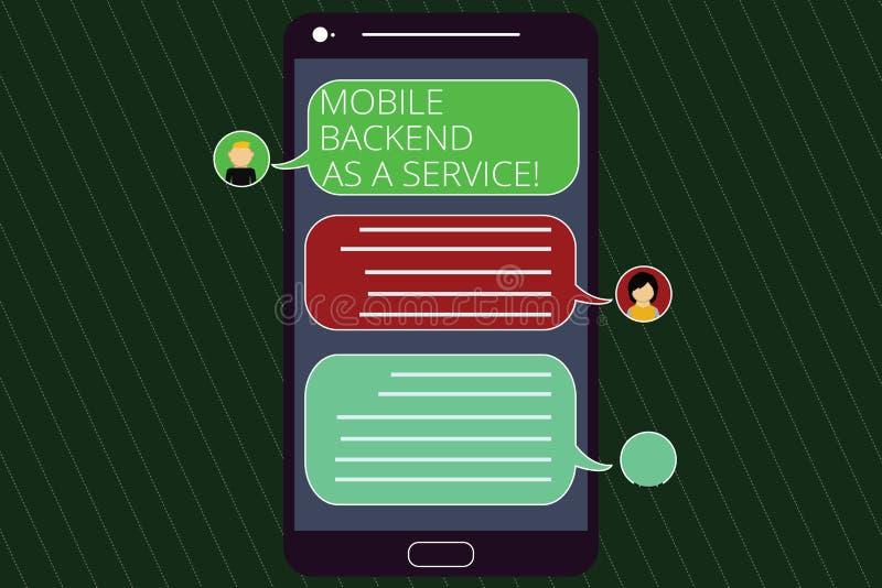 Parte posterior móvel da escrita do texto da escrita como um serviço Conceito que significa a Web da relação de Mbaas e apps móve ilustração royalty free