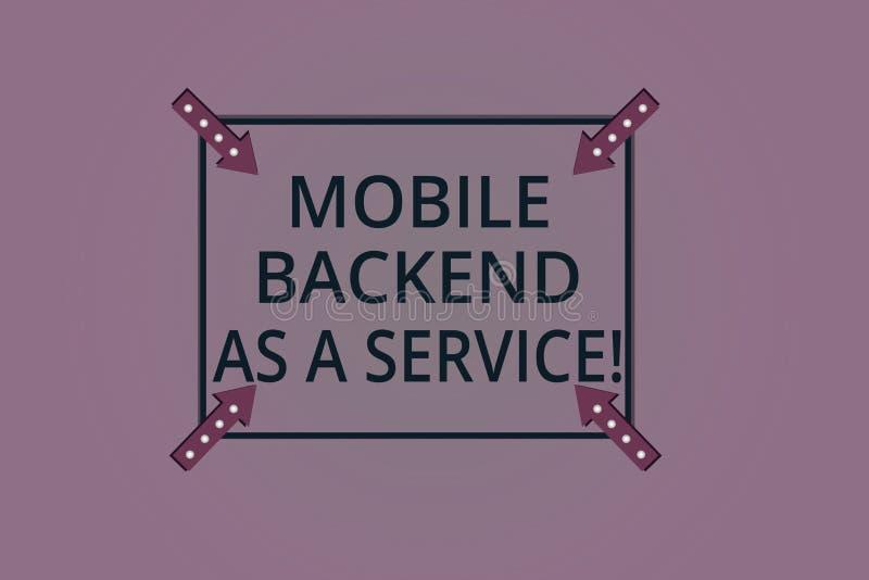 Parte posterior móvel do texto da escrita como um serviço Conceito que significa a Web da relação de Mbaas e apps móveis nublar-s ilustração royalty free