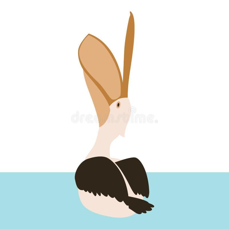 Parte posterior plana del estilo del ejemplo del vector del pájaro del pelícano de la natación stock de ilustración