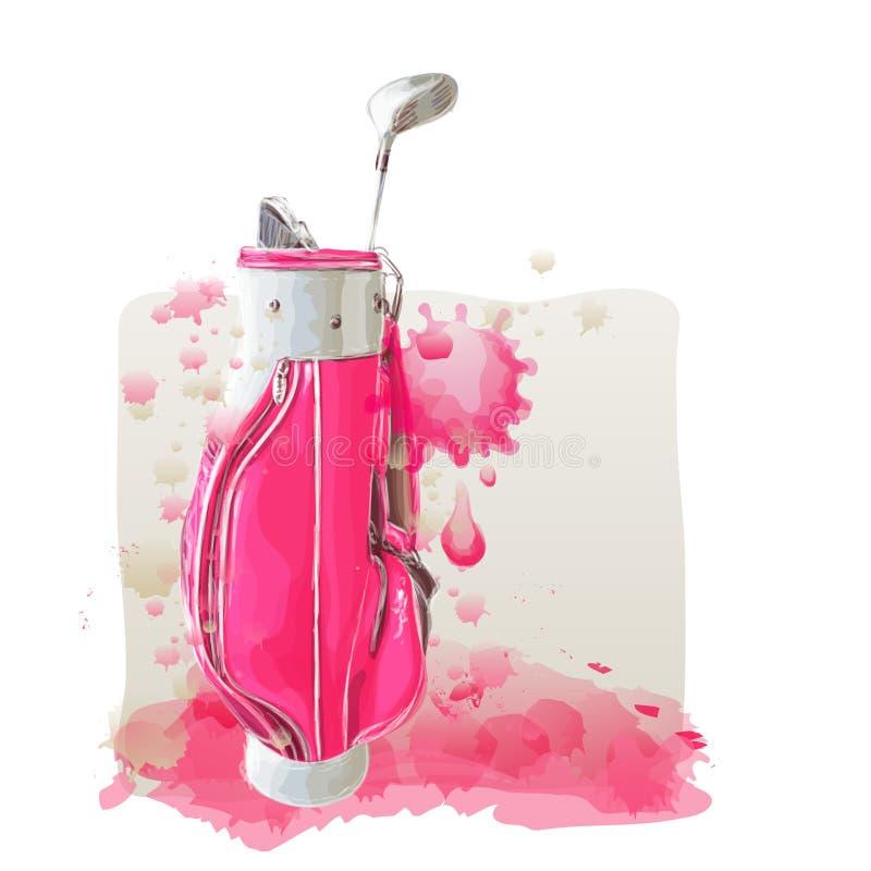 Parte posterior rosada del golf en la pintura de la acuarela en arte del vector ilustración del vector