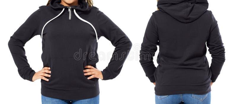 Parte posteriore anteriore e vista nera posteriore della maglietta felpata Manifestazione della donna sui vestiti del modello per fotografia stock