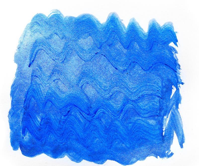 Parte posteriore creativa disegnata a mano blu di arte della pittura acrilica dell'onda astratta fotografie stock libere da diritti