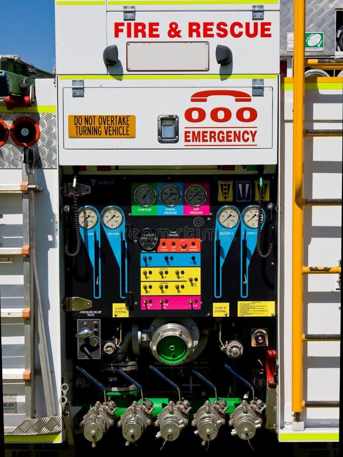 Parte posteriore del camion dei vigili del fuoco fotografia stock