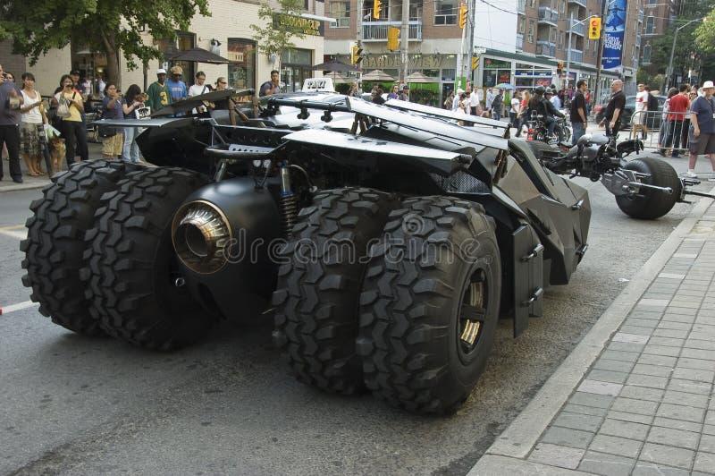 Parte posteriore di Batmobile e motociclo del batpod fotografie stock libere da diritti