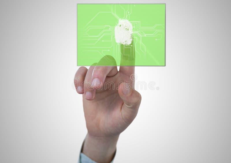 Parte posteriore di bianco con la ricerca verde dell'impronta digitale illustrazione vettoriale