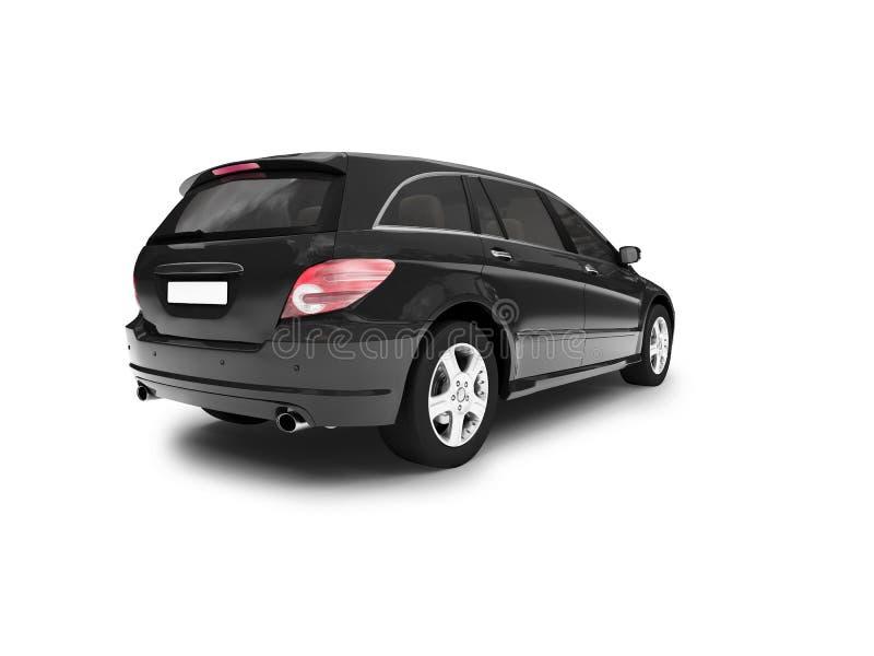 Parte posteriore nera isolata dell'automobile illustrazione di stock