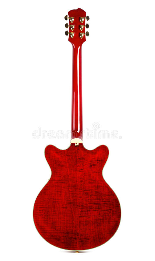 parte posteriore Semi-vuota della chitarra fotografie stock